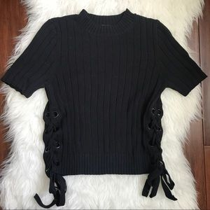 Express Black Lace Up Short Sleeve Ribbed Sweater